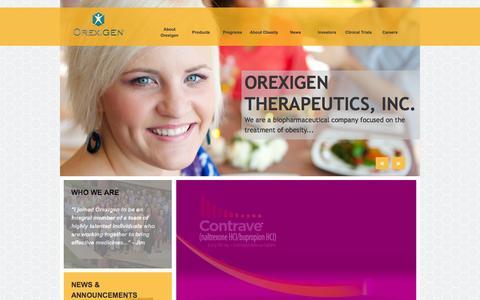 Screenshot of Home Page orexigen.com - Orexigen Therapeutics, Inc. - Home - captured Oct. 7, 2014