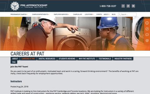 Screenshot of Jobs Page patinstitute.ca - Careers at PAT | Construction Apprenticeship Trade School in Ontario | Pat Institute - captured Sept. 22, 2018