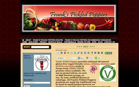 Screenshot of About Page frankspickledpeppers.com - Frank's Pickled Peppers - captured Sept. 30, 2014
