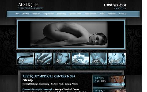 Screenshot of Site Map Page aestique.com - Aestique® Medical Center & Spa - Pittsburgh / Johnstown - Spa Packages - captured Oct. 4, 2014