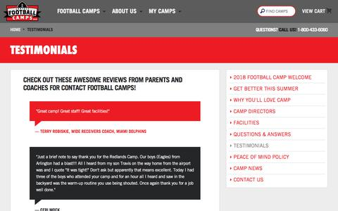 Screenshot of Testimonials Page contactfootball.com - Testimonials - Contact Football Camps - captured June 29, 2018