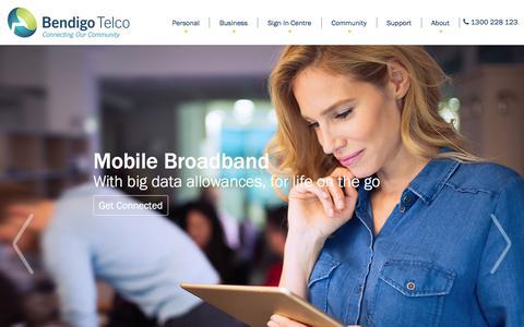 Screenshot of Home Page bendigotelco.com.au - Bendigo Telco - captured June 9, 2018