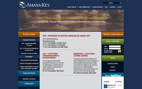 Screenshot of Home Page amana-key.com.br - AMANA-KEY  - INOVAÇÕES RADICAIS EM GESTÃO POR UM FUTURO MELHOR PARA TODOS - captured Sept. 30, 2014