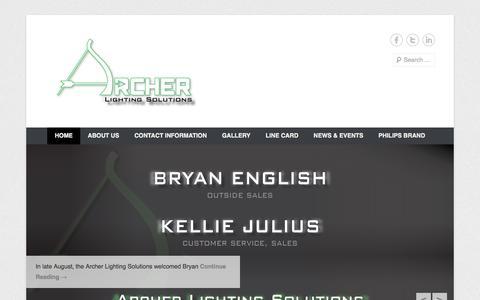 Screenshot of Home Page Menu Page archerlighting.com - Archer Lighting Solutions - captured Oct. 4, 2014