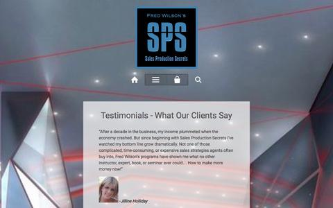 Screenshot of Testimonials Page joinsps.com - Testimonials - What Our Clients Say – Fred Wilson's Sales Production Secrets™ - captured Jan. 20, 2016