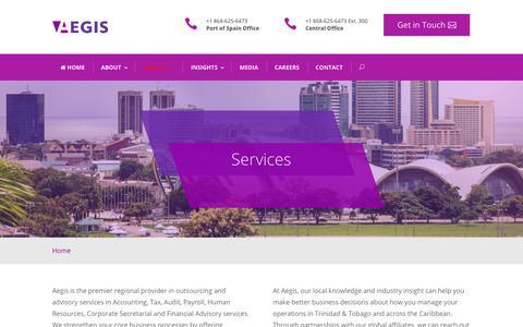 Screenshot of Services Page aegistt.com - Services — Aegis Outsourcing & Advisory Services, Trinidad & Tobago - captured Nov. 12, 2018