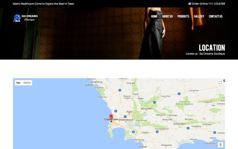 Screenshot of Contact Page Locations Page innovateui.com - Sai Dreams Boutique | Locations - captured Oct. 15, 2017