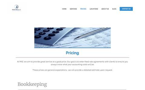 Screenshot of Pricing Page peninsulaaccounting.com - Pricing — Peninsula Accounting - captured July 16, 2018
