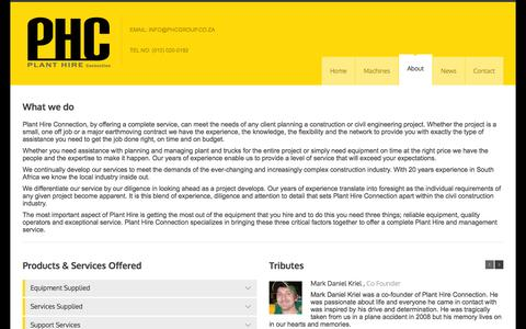 Screenshot of About Page phcgroup.co.za - About - Plant Hire Connection - captured Oct. 8, 2014
