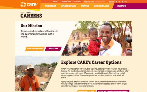 Screenshot of Jobs Page care.org - Careers | CARE - captured Sept. 25, 2014