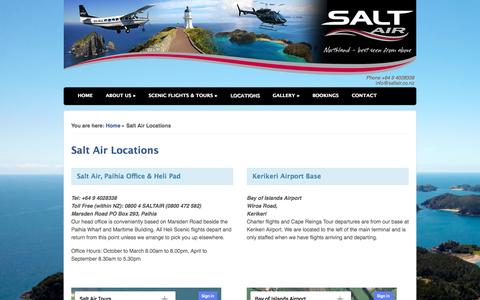 Screenshot of Locations Page saltair.co.nz - Salt Air Location Maps in Paihia and Kerikeri Airport, Bay of Islands - captured Sept. 30, 2014