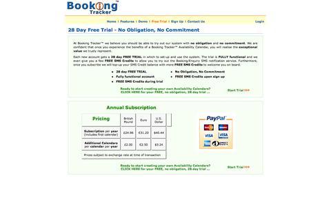 Screenshot of Trial Page booking-tracker.com - Availability Calendar Free Trial - Booking Tracker™ - captured Nov. 5, 2014