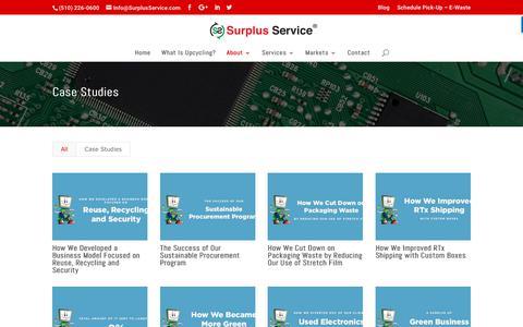 Screenshot of Case Studies Page surplusservice.com - Case Studies - Surplus Service - captured Oct. 8, 2017
