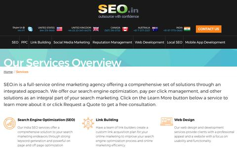 Screenshot of Services Page seo.in - SEO.IN: Internet Marketing Services India - captured Oct. 14, 2017