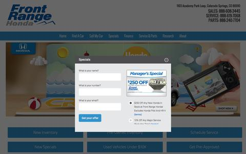 Screenshot of Home Page frontrangehonda.com - Honda Dealership in Colorado Springs, CO | Front Range Honda - captured Aug. 4, 2016