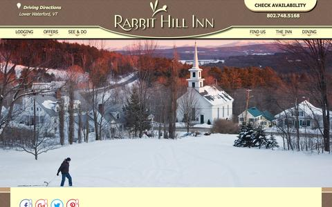 Screenshot of Contact Page Maps & Directions Page rabbithillinn.com - Our Bed and Breakfast near New Hampshire's White Mountains - captured July 2, 2018