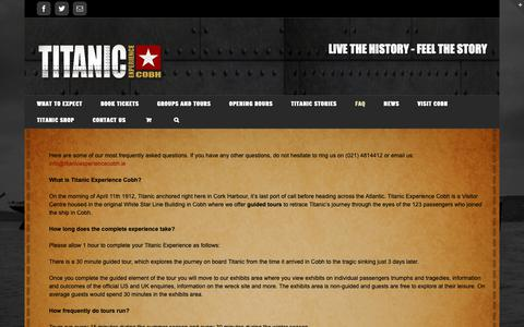 Screenshot of FAQ Page titanicexperiencecobh.ie - FAQ - Titanic Experience Cobh - Live The History, Feel The Story - captured Oct. 20, 2018