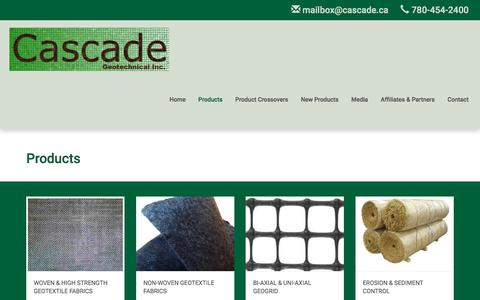 Screenshot of Products Page cascade.ab.ca - Edmonton Outdoor Fabric Products, Textiles, Fencing & More - captured Oct. 26, 2016