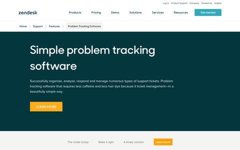 Screenshot of Support Page zendesk.com - Problem Tracking Software | Zendesk - captured Aug. 4, 2018