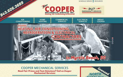 Screenshot of Home Page coopermechanicalservices.com - Cooper Mechanical - HVAC & Electrical Services | Myrtle Beach SC - captured Oct. 3, 2014