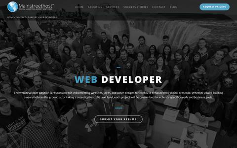 Screenshot of Jobs Page mainstreethost.com - Web Designer & Developer in Buffalo, NY | Career Opportunities at Mainstreethost - captured Oct. 28, 2017