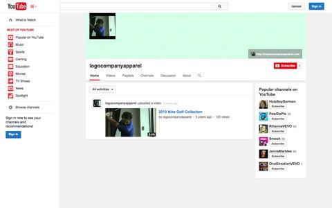 Screenshot of YouTube Page youtube.com - logocompanyapparel  - YouTube - captured Oct. 23, 2014