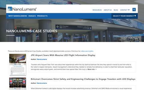 Screenshot of Case Studies Page nanolumens.com - The Best of NanoLumens LED Screen Case Studies - captured Dec. 21, 2017
