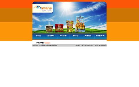 Screenshot of Terms Page montana-food.com - MONTANA FOODS - captured Oct. 1, 2014