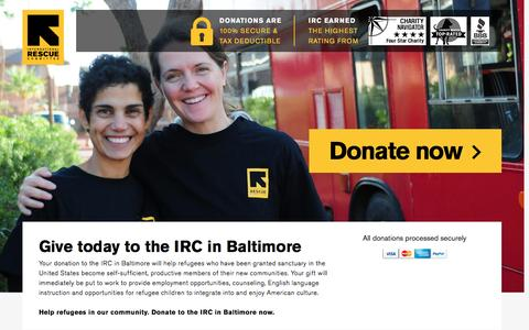 Screenshot of Landing Page rescue.org - Give today to the IRC in Baltimore | International Rescue Committee - captured Nov. 27, 2016