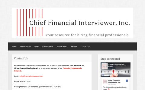 Screenshot of Contact Page financialinterviewer.com - Contact Us – Chief Financial Interviewer, Inc. - captured Sept. 27, 2018