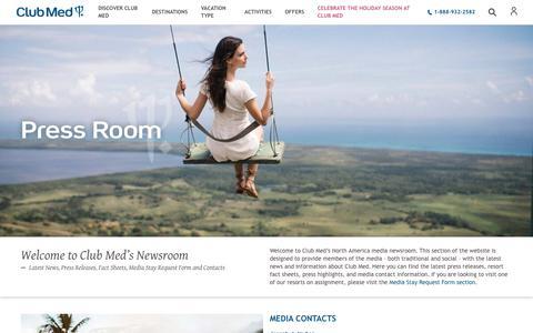 Screenshot of Press Page clubmed.us - Press Room | Club Med - captured Nov. 2, 2019