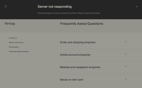 Screenshot of FAQ Page aesop.com - Aesop - Frequently Asked Questions - captured June 4, 2017