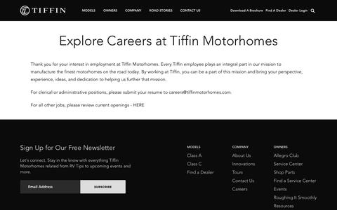 Screenshot of Jobs Page tiffinmotorhomes.com - Careers | Tiffin Motorhomes - captured Sept. 21, 2018