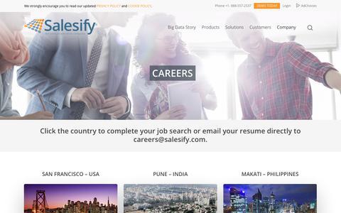 Screenshot of Jobs Page salesify.com - Salesify Careers - captured Aug. 17, 2018