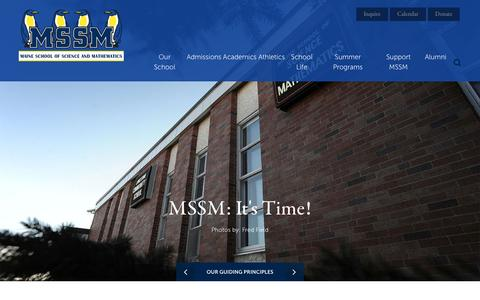 Screenshot of Home Page mssm.org - Home - The Maine School of Science and Mathematics - captured Sept. 26, 2016
