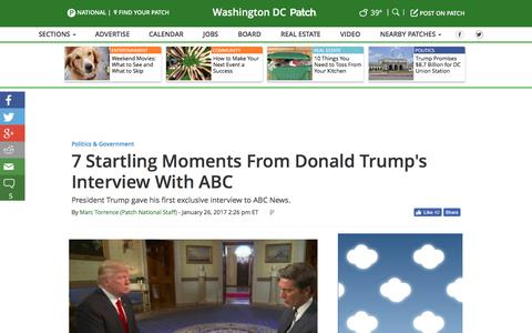Screenshot of patch.com - 7 Startling Moments From Donald Trump's Interview With ABC - Washington DC, DC Patch - captured Jan. 27, 2017