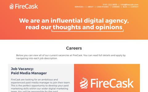Screenshot of Jobs Page firecask.com - Find your next Job in Search at FireCask - SEO Careers in Manchester - captured Sept. 23, 2018