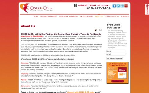 Screenshot of About Page ciscoco.com - Senior care marketing and sales coaching | CISCO & CO - captured Sept. 26, 2014