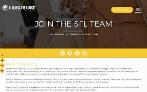 Screenshot of Jobs Page studentsforliberty.org - Jobs | STUDENTS FOR LIBERTY - captured June 27, 2017