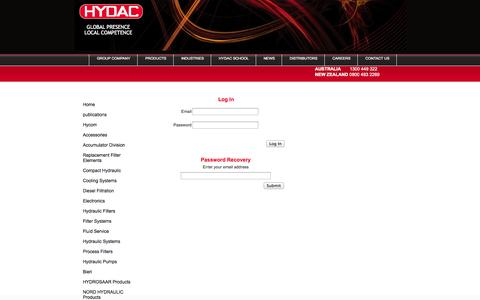 Screenshot of Login Page hydac.com.au - Log In - HYDAC Australia & New Zealand - captured Oct. 6, 2014