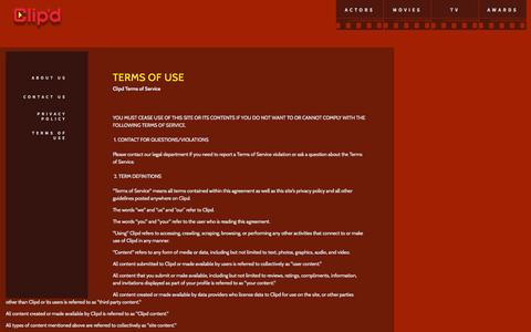 Screenshot of Terms Page clipd.com - clipd.com  | Terms of Use - captured Oct. 30, 2014