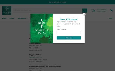 Screenshot of Contact Page paracletepress.com - Contact Us — Paraclete Press - captured Nov. 4, 2018