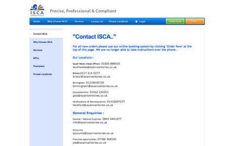 Screenshot of Contact Page iscainventories.com - ISCA Inventories - The National Inventory People - captured Sept. 30, 2014