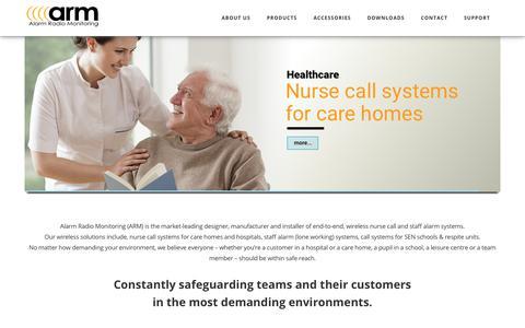 Screenshot of Home Page arm.uk.com - Home - Nurse Call & Staff Alarm systems - captured Nov. 17, 2019