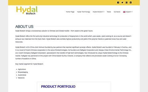 Screenshot of About Page hydalbiotech.com - About Hydal Biotech - Hydal Biotech - captured Sept. 30, 2014