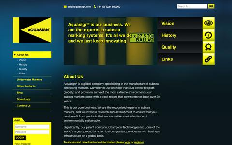 Screenshot of About Page aquasign.com - About Us - Aquasign - Marine Antifouling Subsea Markers - captured Oct. 4, 2014