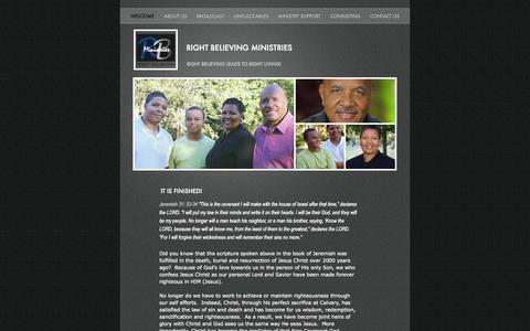 Screenshot of Home Page rightbelieving.org - right believing ministries - captured Aug. 12, 2015