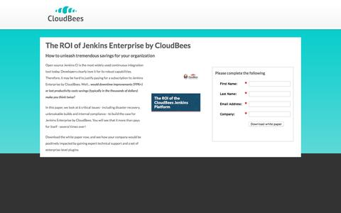 Screenshot of Landing Page cloudbees.com - The ROI of Jenkins Enterprise by CloudBees - captured Oct. 5, 2016