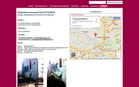 Screenshot of Contact Page google.com - Contact - Fédération Française Pour l'UNESCO (FFPU) - captured June 1, 2016