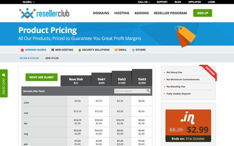 Screenshot of Pricing Page resellerclub.com - Product Pricing | ResellerClub - captured Oct. 26, 2014